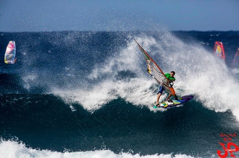 Graham Ezzy kicking up Spray at Ho'okipa